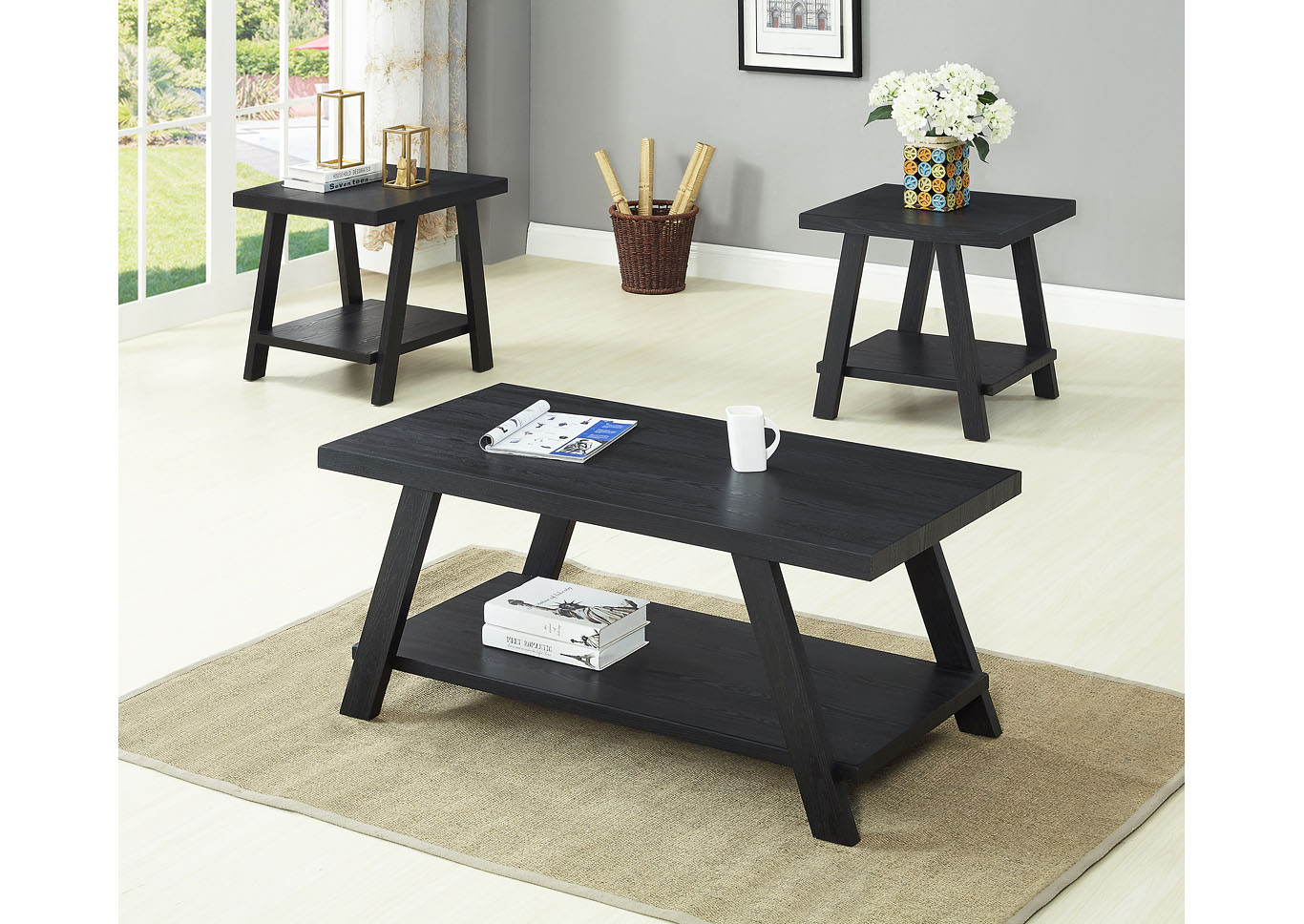 Black 3 Piece Coffee & End Table Set,Global Trading