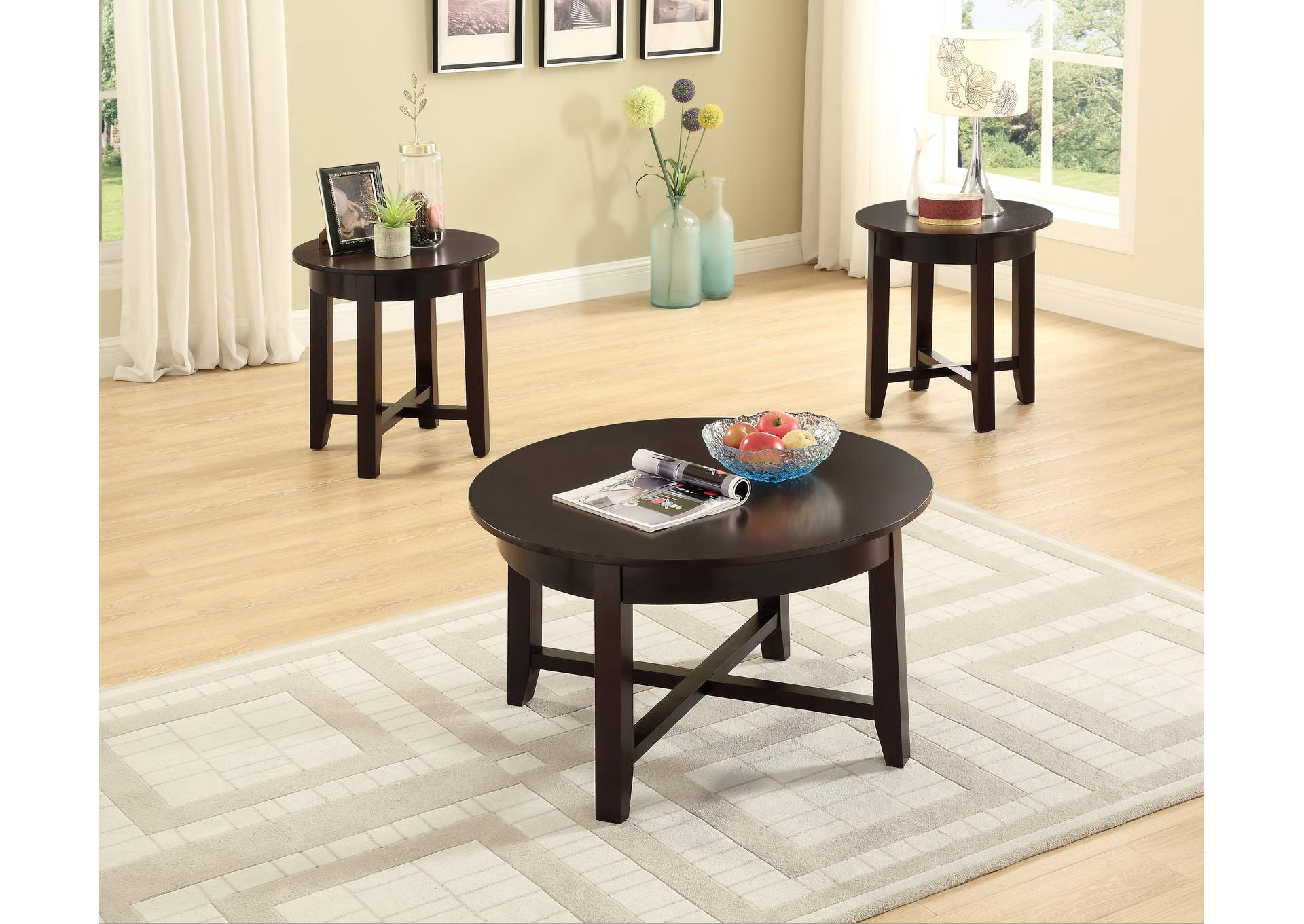 Brown 3 Piece Coffee & End Table Set,Global Trading
