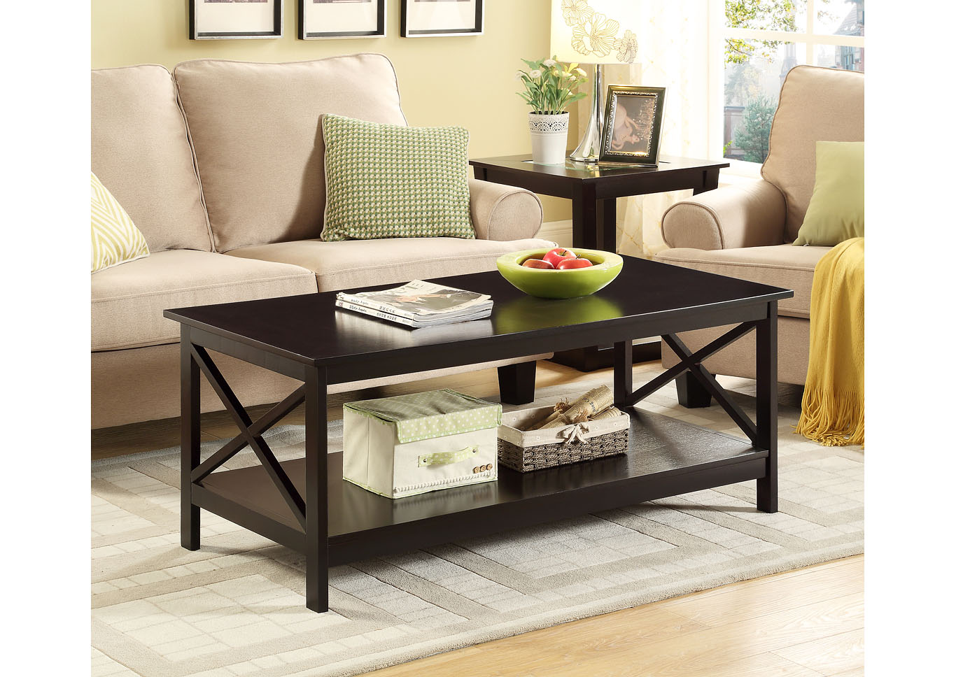 Coffee Coffee Table With Shelf,Global Trading