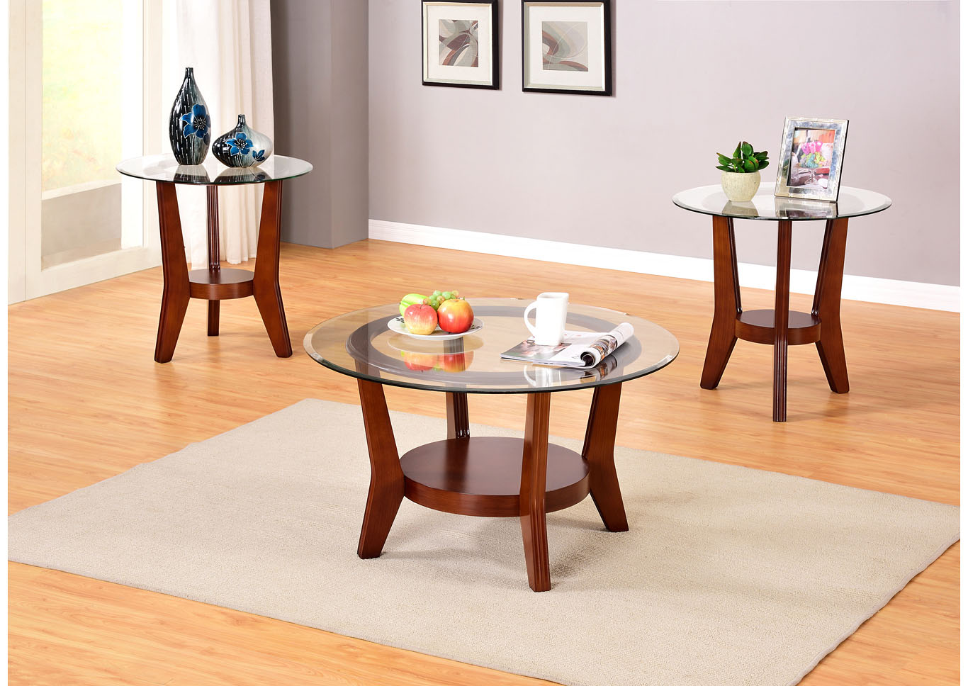 Brown 3 Piece Cocktail Glass Top Coffee & End Table Set,Global Trading