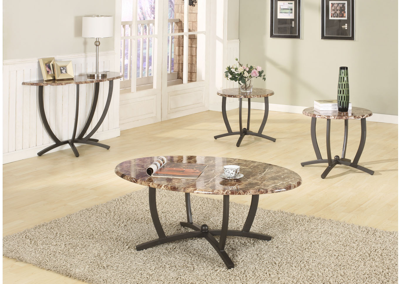 Brown 3 Piece Faux Marble Coffee & End Table Set Shoppers World Flooring & Furniture