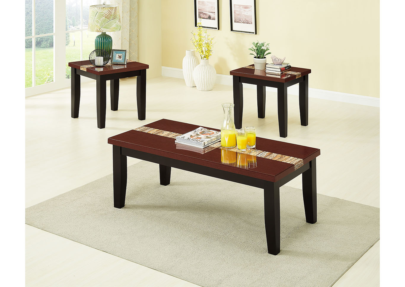 Brown 3 Piece Faux Marble Top Coffee & End Table Set,Global Trading