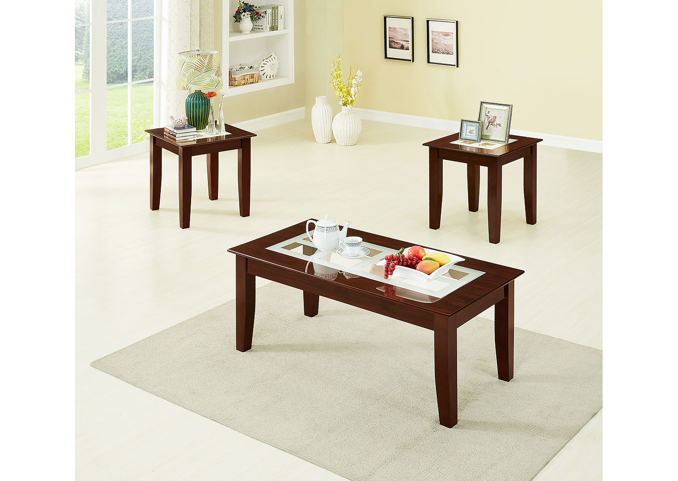Cappuccino 3 Piece Coffee & End Table Set W/ Frosted Glass Insert,Global Trading