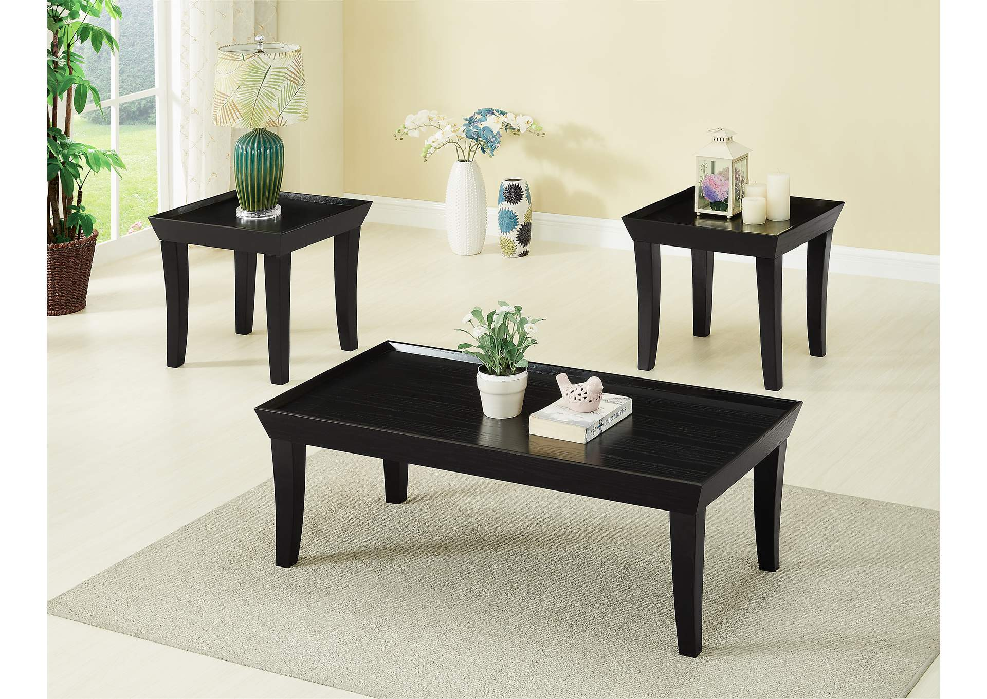 Black 3 Piece Cocktail & End Table Set,Global Trading
