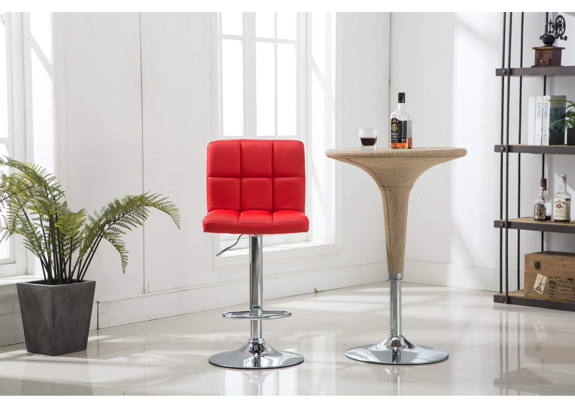 Red Bar Stool (2 In 1 Box),Global Trading