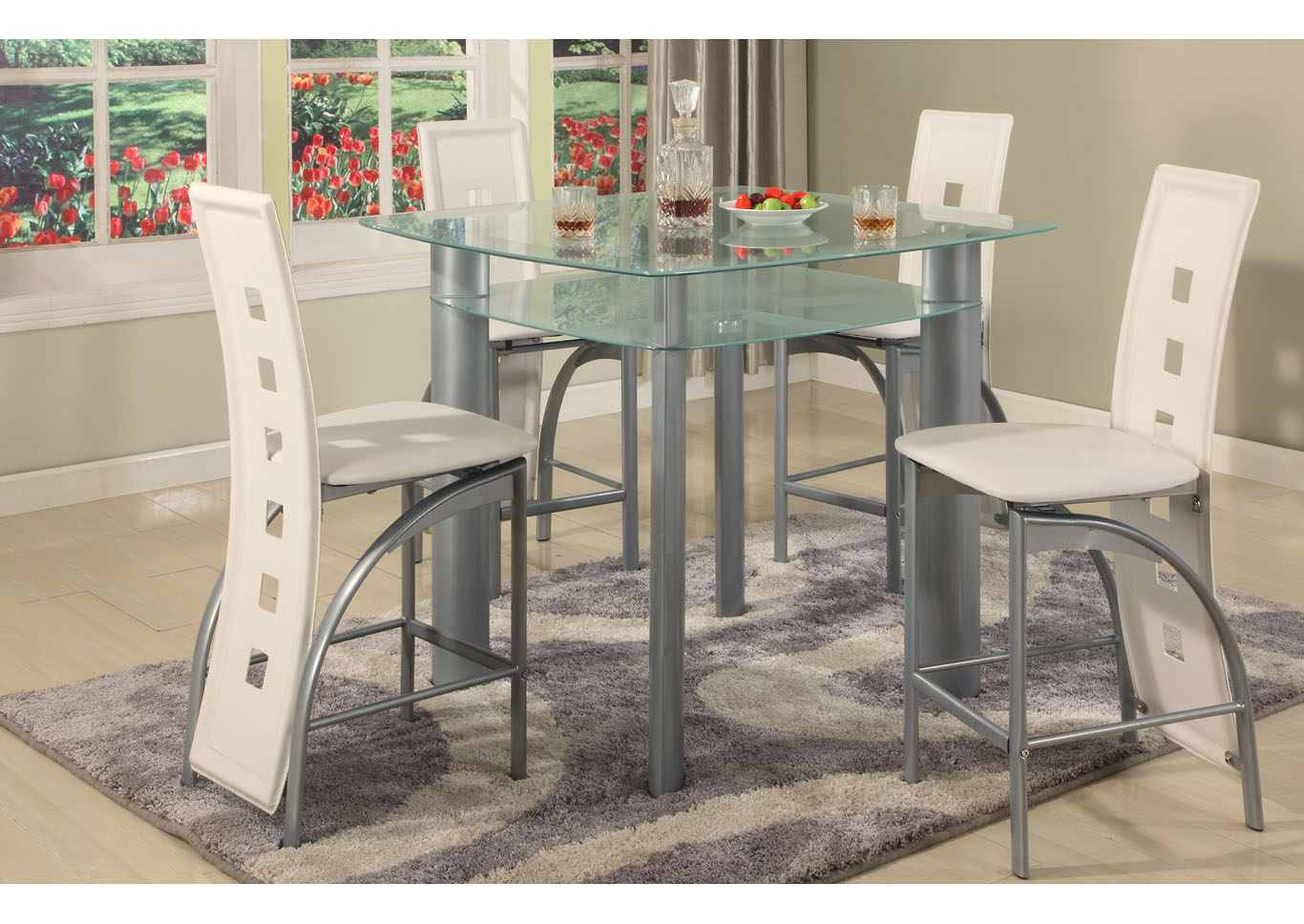 Grey Frosted Edge Glass Top Pub Table,Global Trading