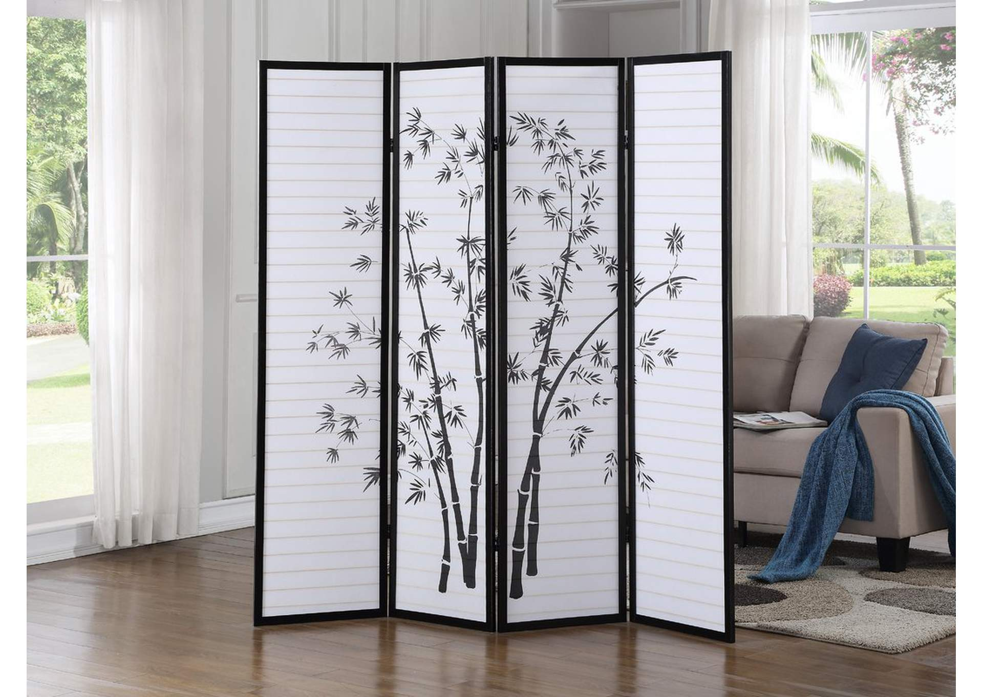 White & Black 4 Panel Screen W/ Bamboo Artwork,Global Trading