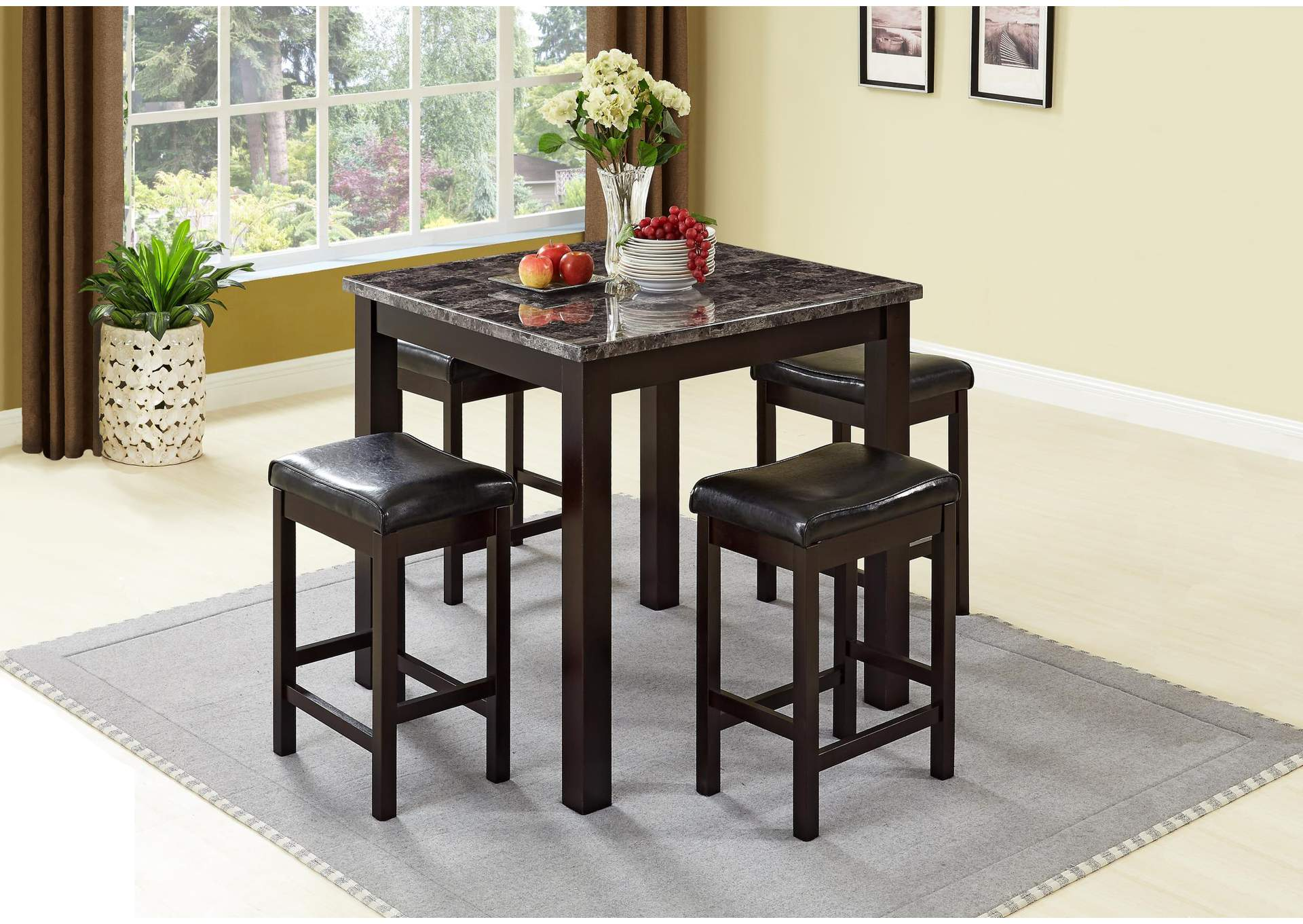 Brown 5 Piece Marble Top Dining Set w/ 4 Stools,Global Trading