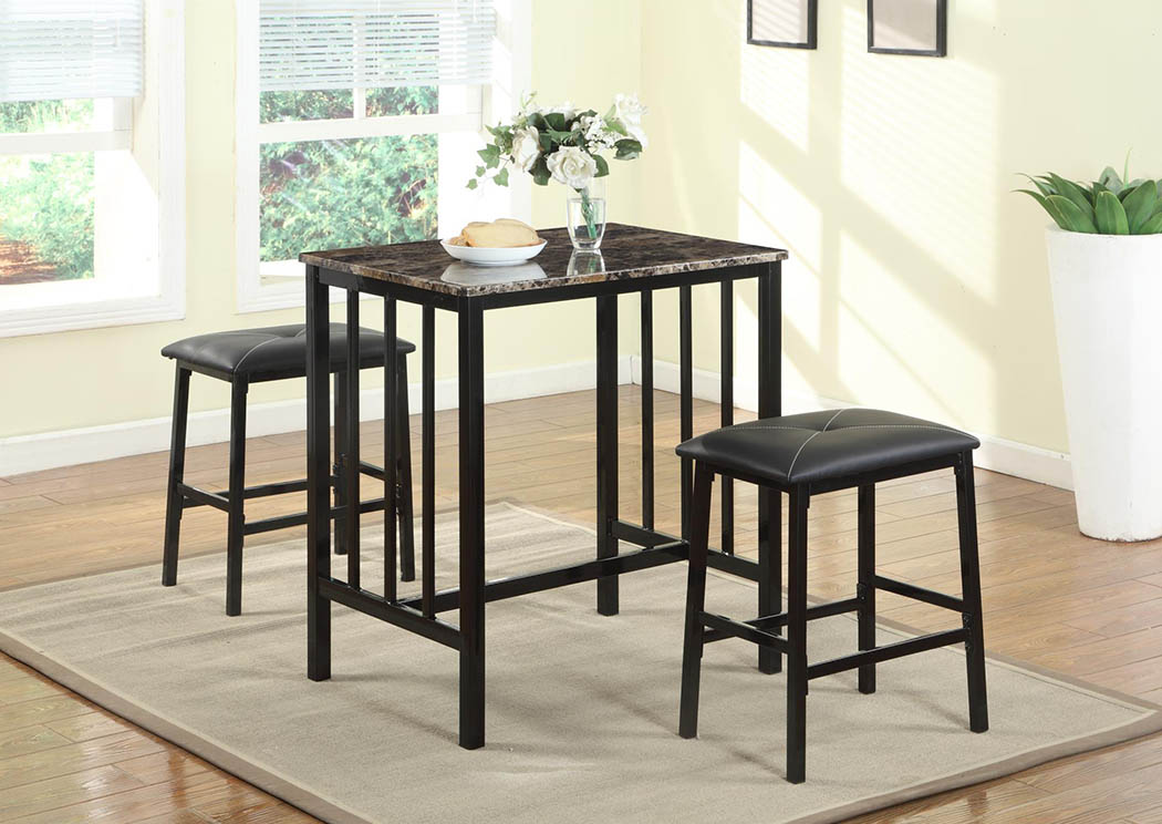 Brown Faux Marble Top Counter Height Set (3 In 1),Global Trading