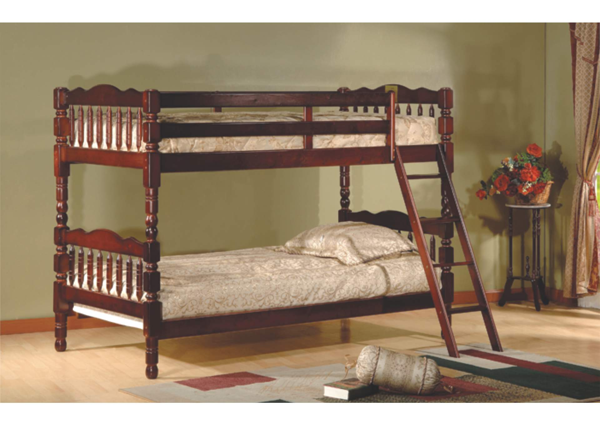 Cherry Twin/Twin Bunk Bed,Global Trading