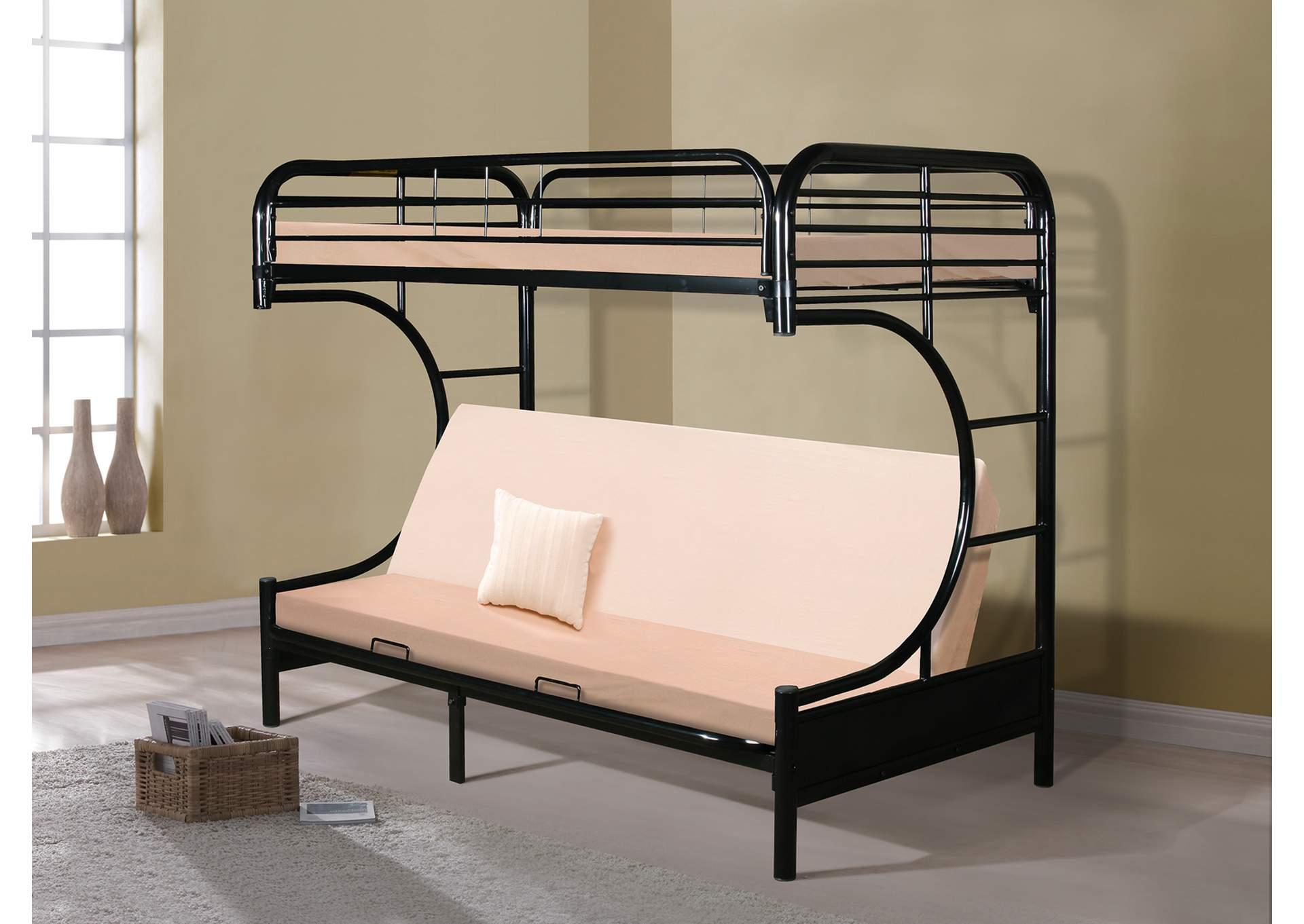 Black Twin Futon Bunk Bed Rotana Furniture