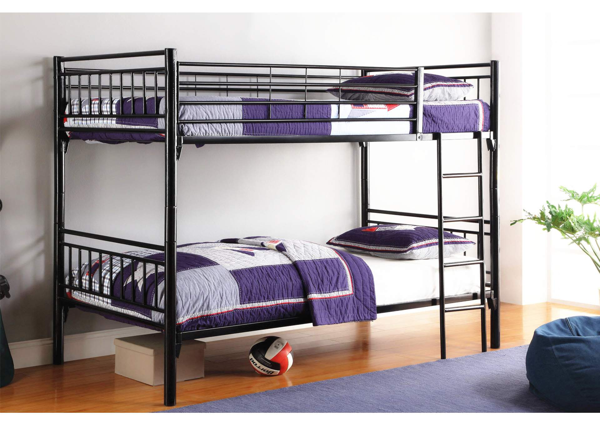 Black Twin/Twin Bunk Bed,Global Trading