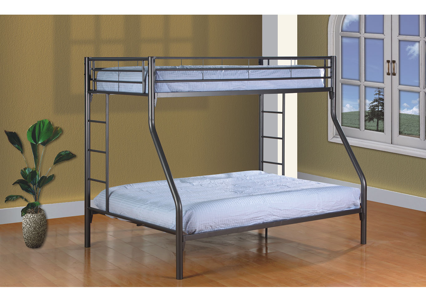 Grey Twin/Full Bunk Bed,Global Trading