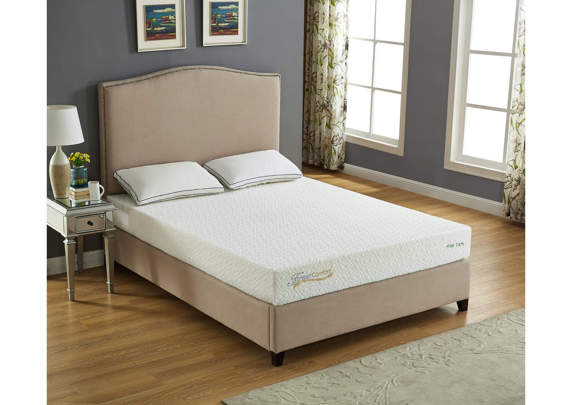 "White 8"" Gel Memory Foam Twin Size Mattress,Global Trading"