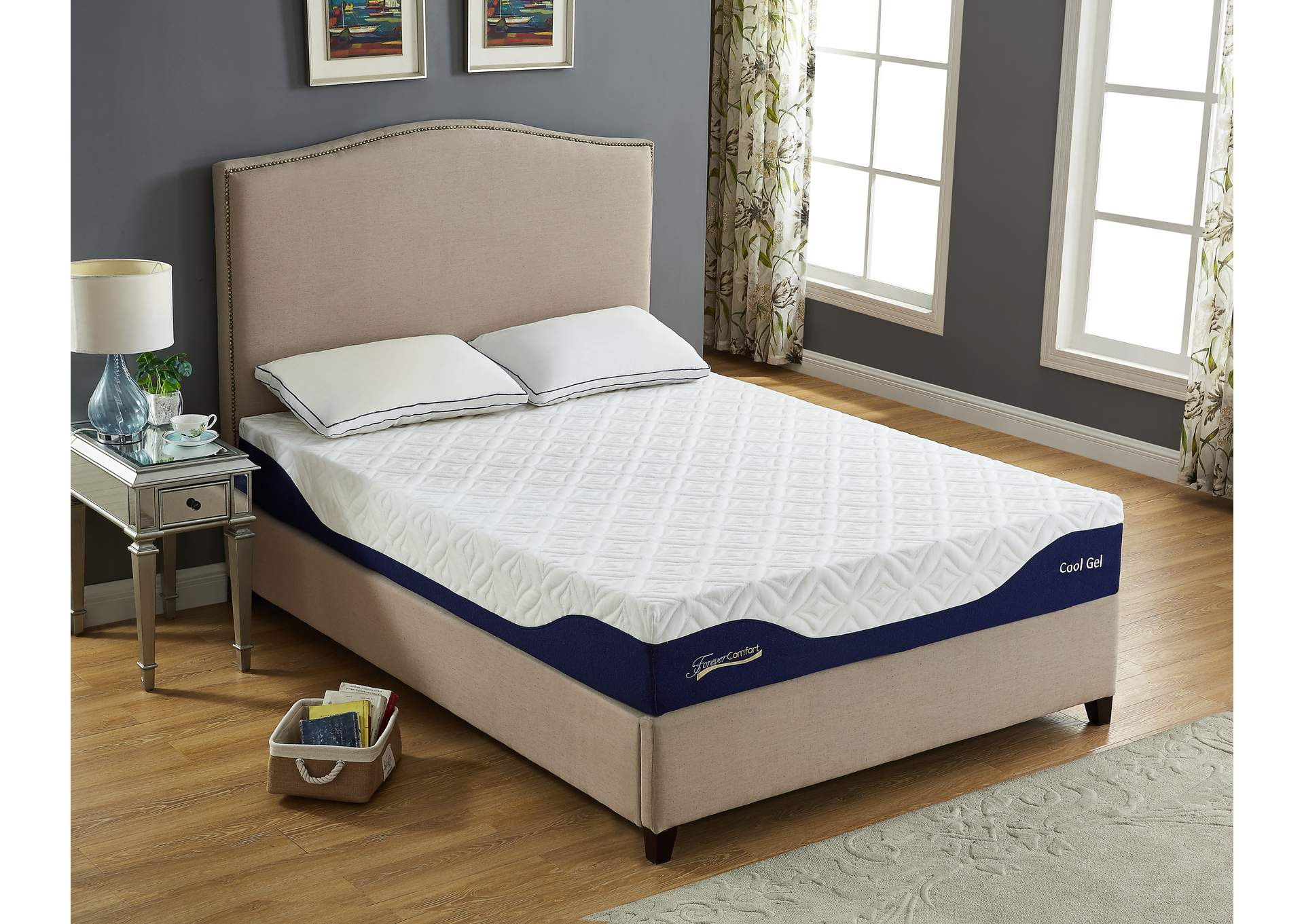 "White 10"" Gel Memory Foam Full Size Mattress,Global Trading"