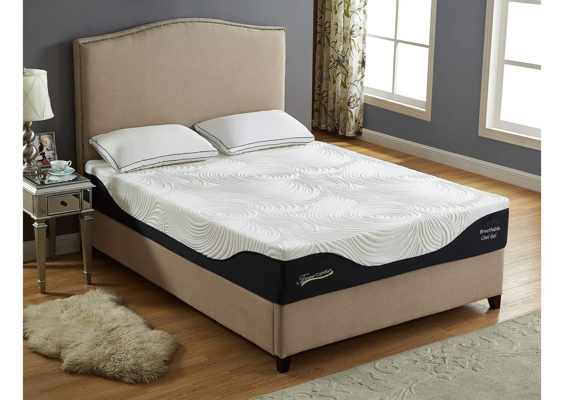 "White 12"" Gel Memory Foam King Size Mattress,Global Trading"