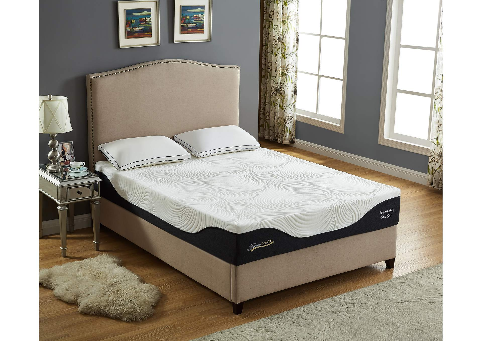 "White 12"" Gel Memory Foam Full Size Mattress,Global Trading"