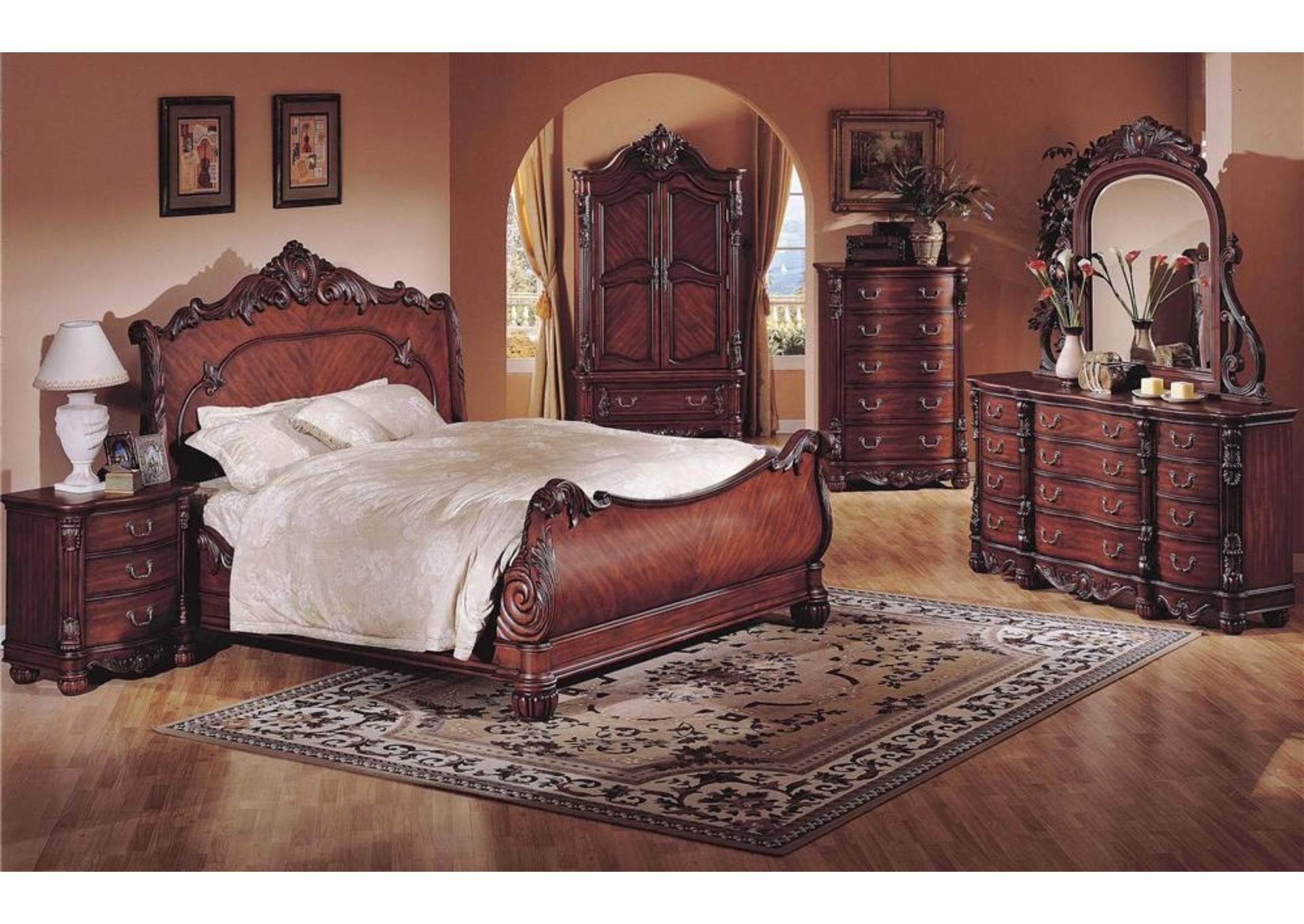 Queens Rich Cherry Sleigh Queen 4 Piece Bedroom Set W/ Nightstand, Dresser & Mirror,Global Trading