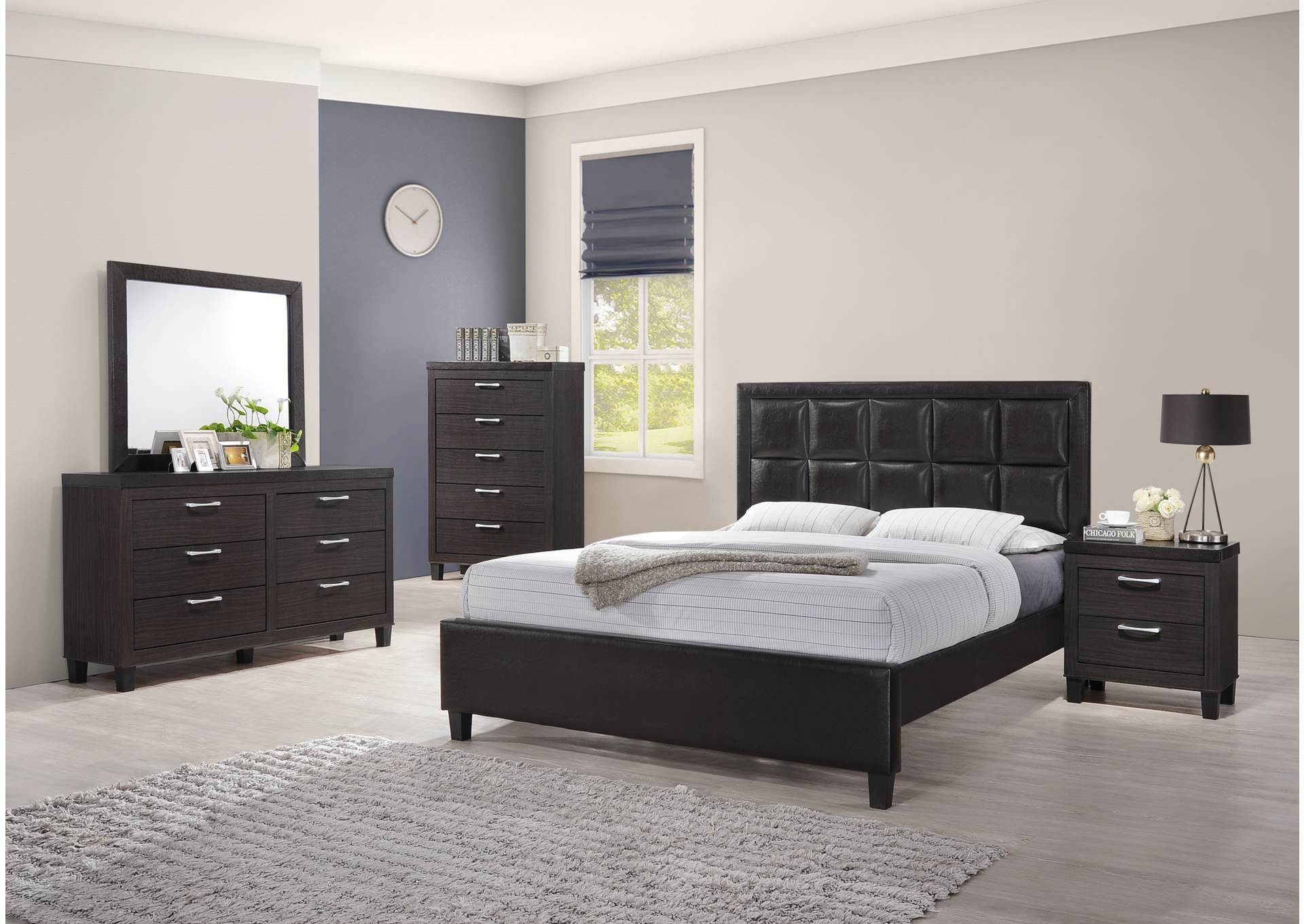 Dark Grey Panel Queen 4 Piece Bedroom Set W/ Chest, Dresser & Mirror,Global Trading