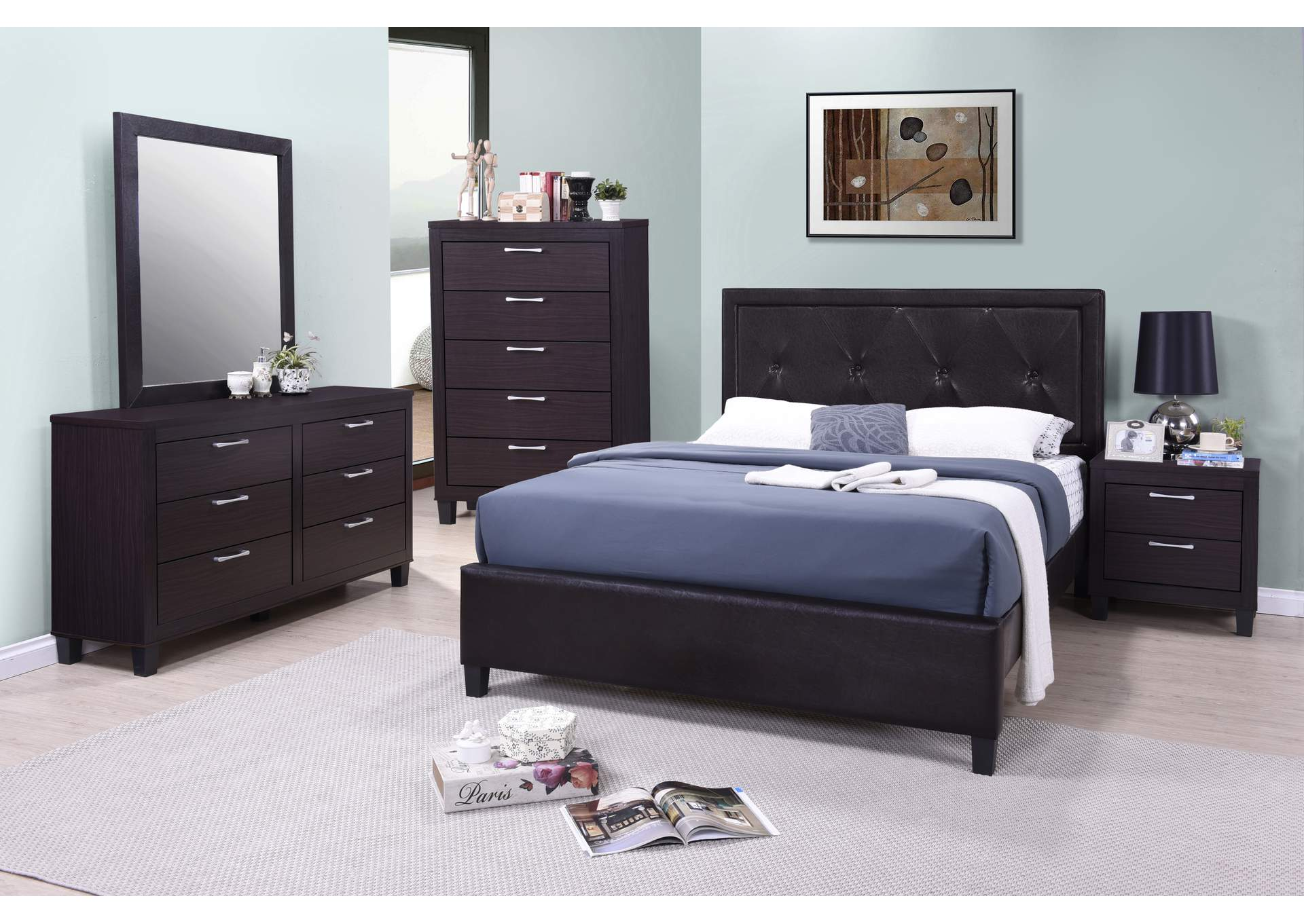 Tripton Dark Grey Panel Queen 4 Piece Bedroom Set W/ Chest, Dresser & Mirror,Global Trading