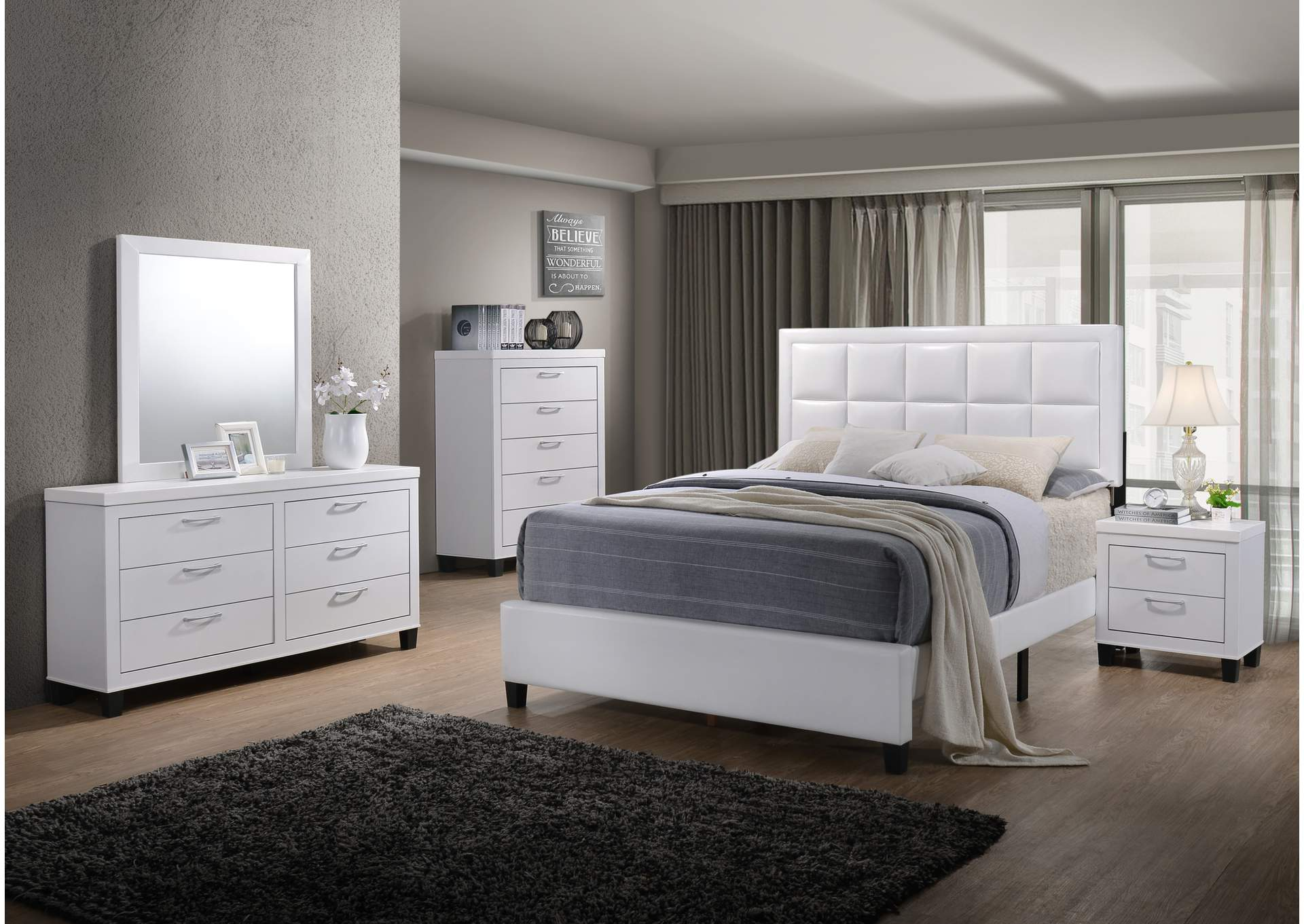 Culverbach White Panel Queen 6 Piece Bedroom Set W/ 2 Nightstand, Chest, Dresser & Mirror,Global Trading