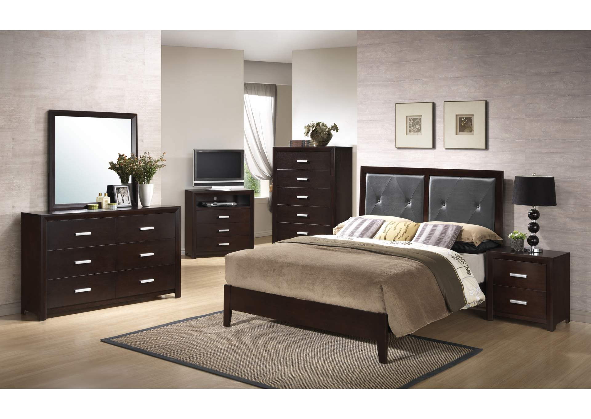 Cappuccino Panel Queen 4 Piece Bedroom Set W/ Nightstand, Dresser & Mirror,Global Trading
