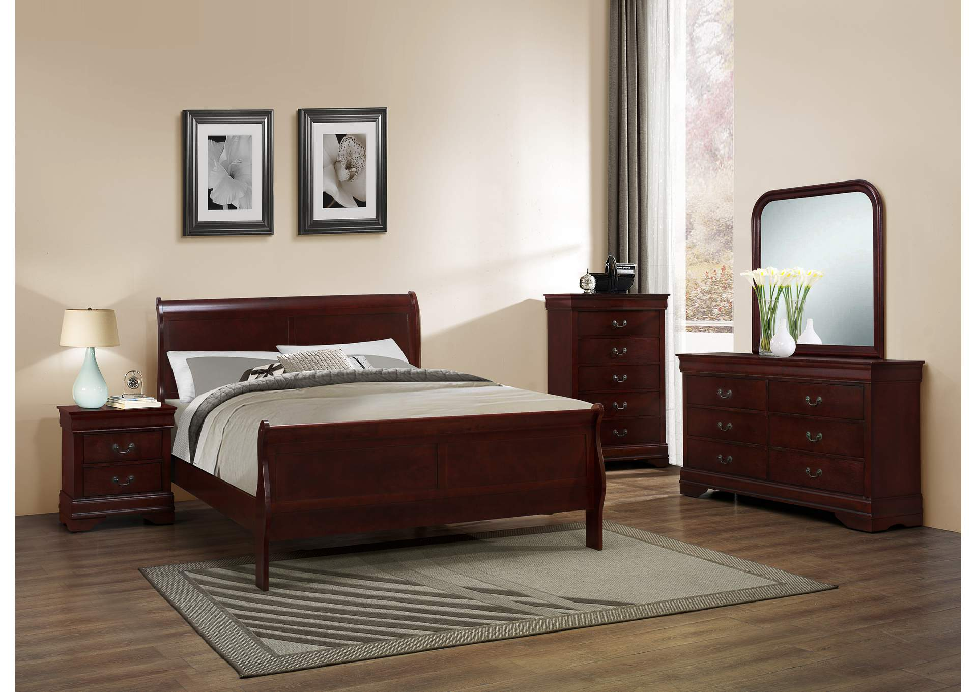 Louis Phillippe Cherry Sleigh Queen 6 Piece Bedroom Set W/ 2 Nightstand, Chest, Dresser & Mirror,Global Trading