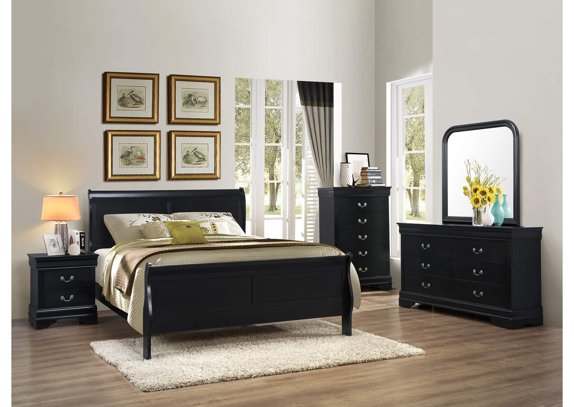 Black Queen Sleigh Bed,Global Trading