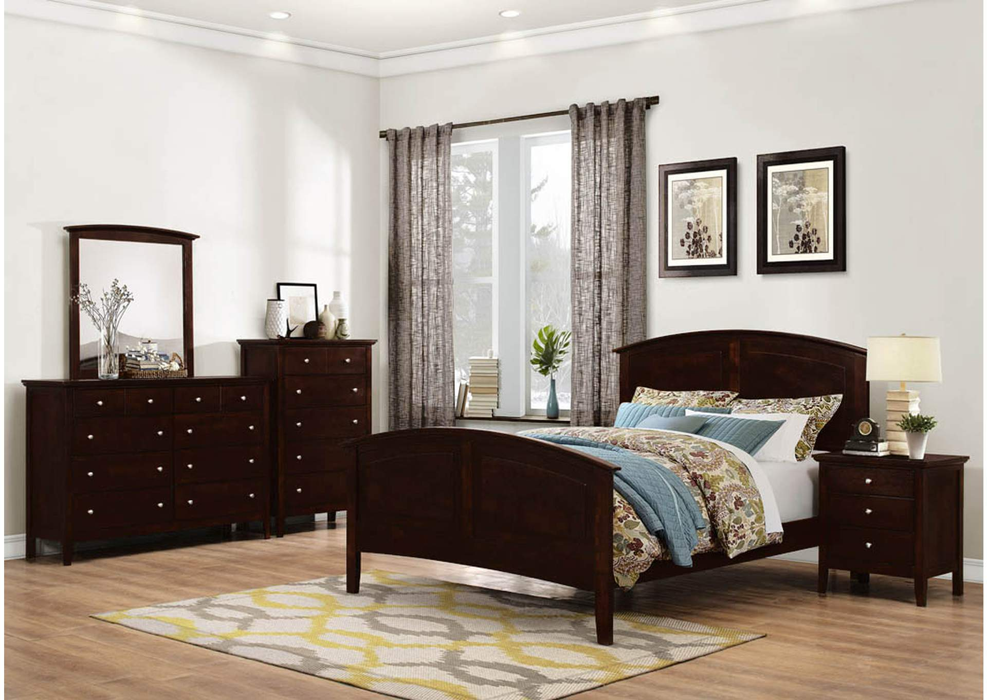 Windlore Dark Cherry Panel Queen 5 Piece Bedroom Set W/ Nightstand, Chest, Dresser & Mirror,Global Trading