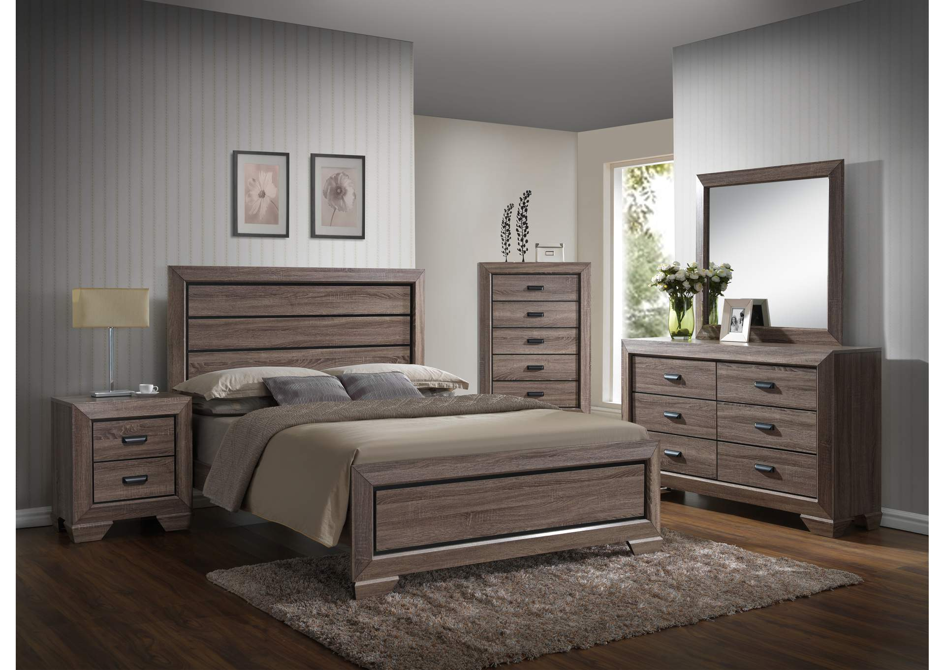 Sand Panel Queen 6 Piece Bedroom Set W/ 2 Nightstand, Chest, Dresser & Mirror,Global Trading