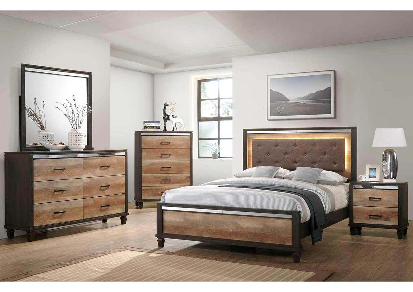 Trishelle Espresso Panel Queen 4 Piece Bedroom Set W/ Nightstand, Dresser & Mirror,Global Trading