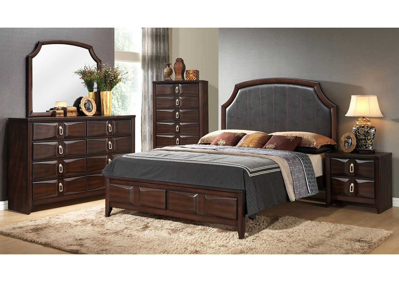 Brown Storage Queen 5 Piece Bedroom Set W/ Nightstand, Chest, Dresser & Mirror,Global Trading