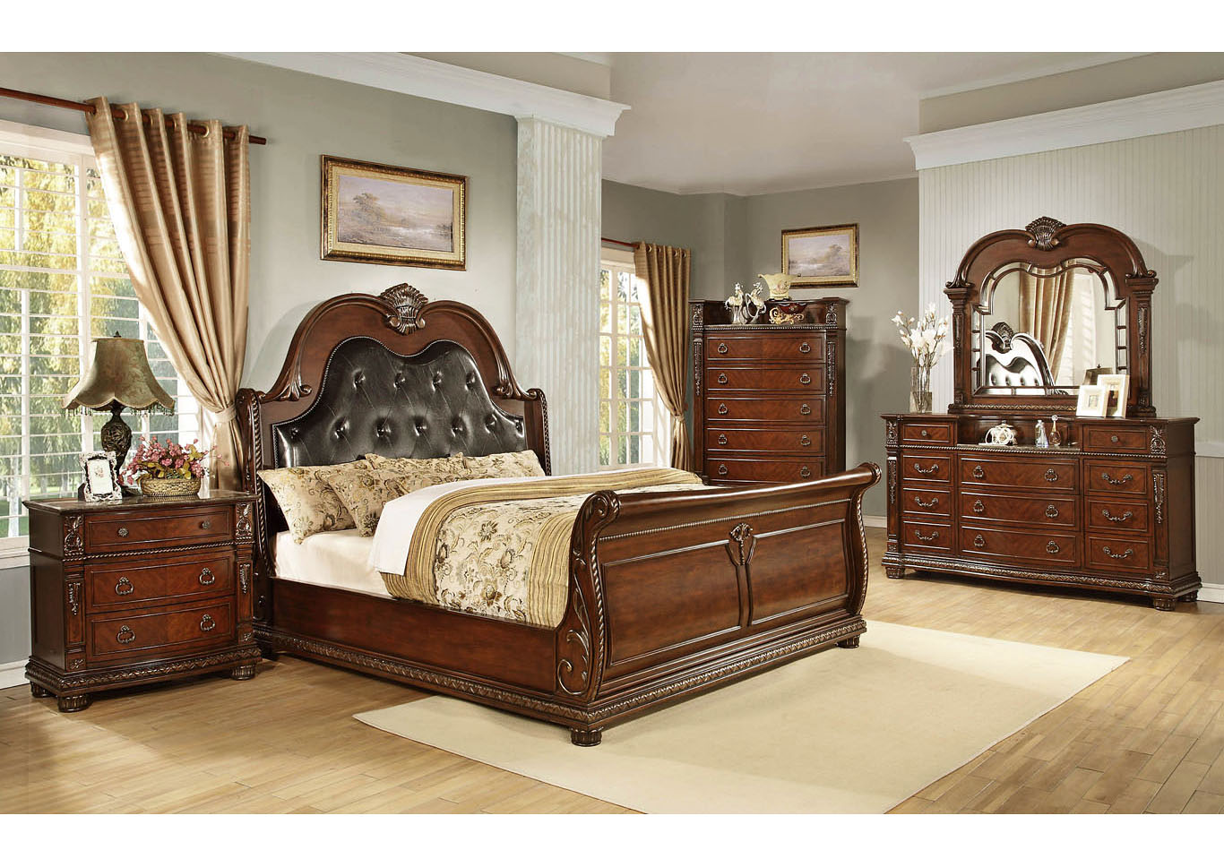 Lakeleigh Brown Sleigh Queen 4 Piece Bedroom Set W/ Chest, Dresser & Mirror,Global Trading