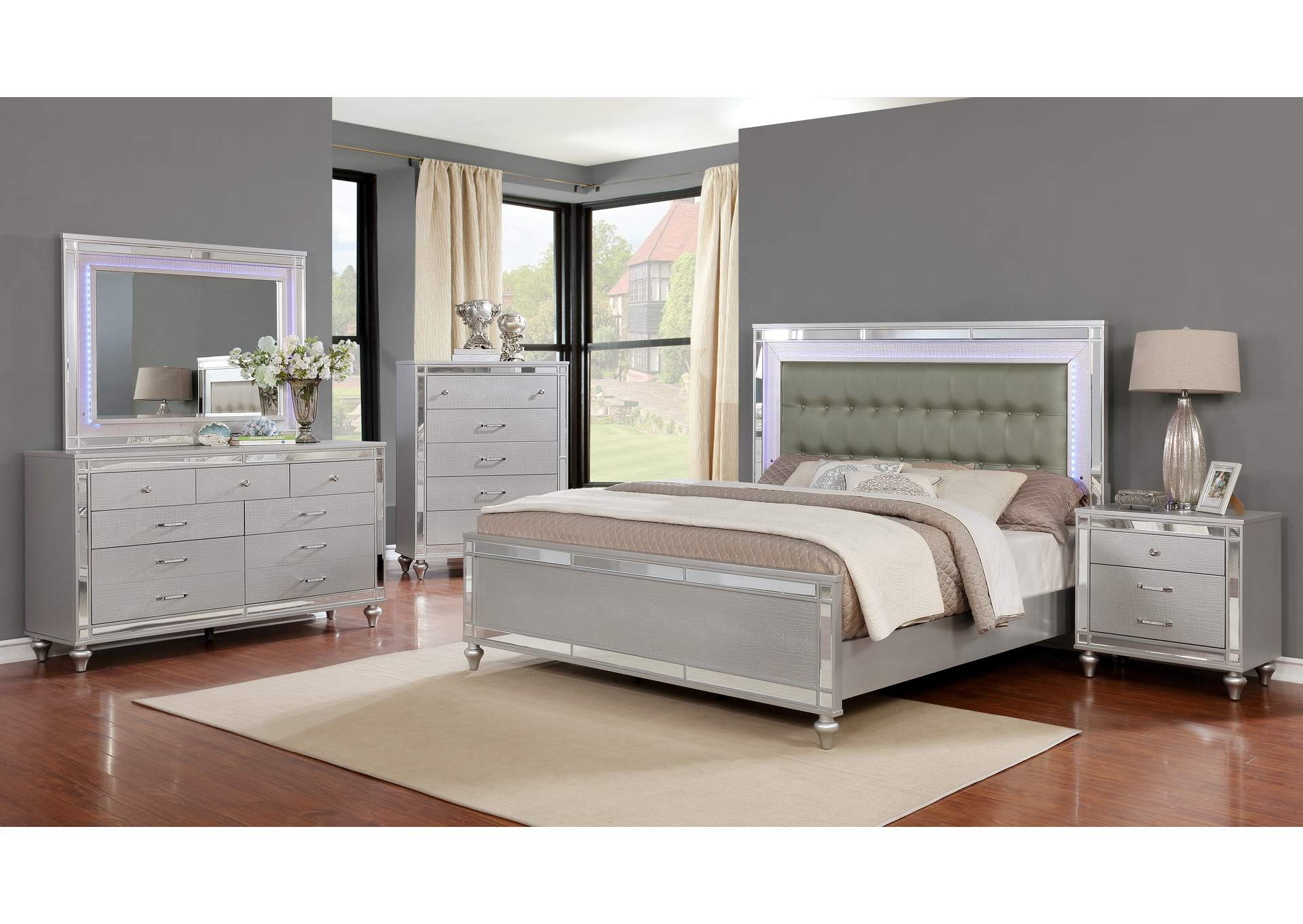 Halamay Silver Queen Bed,Global Trading