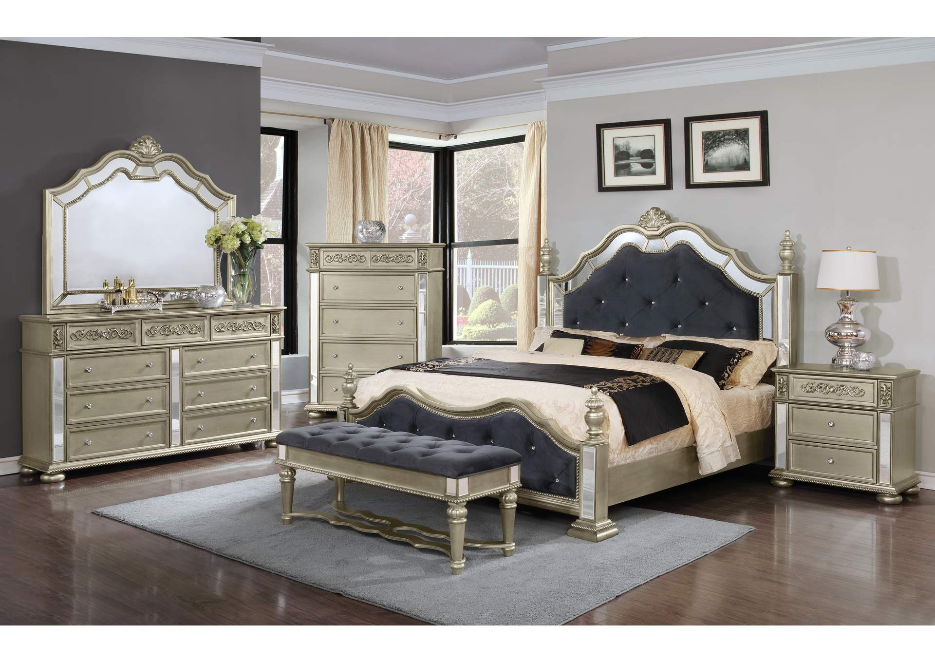 Silver Panel Queen 4 Piece Bedroom Set W/ Chest, Dresser & Mirror,Global Trading