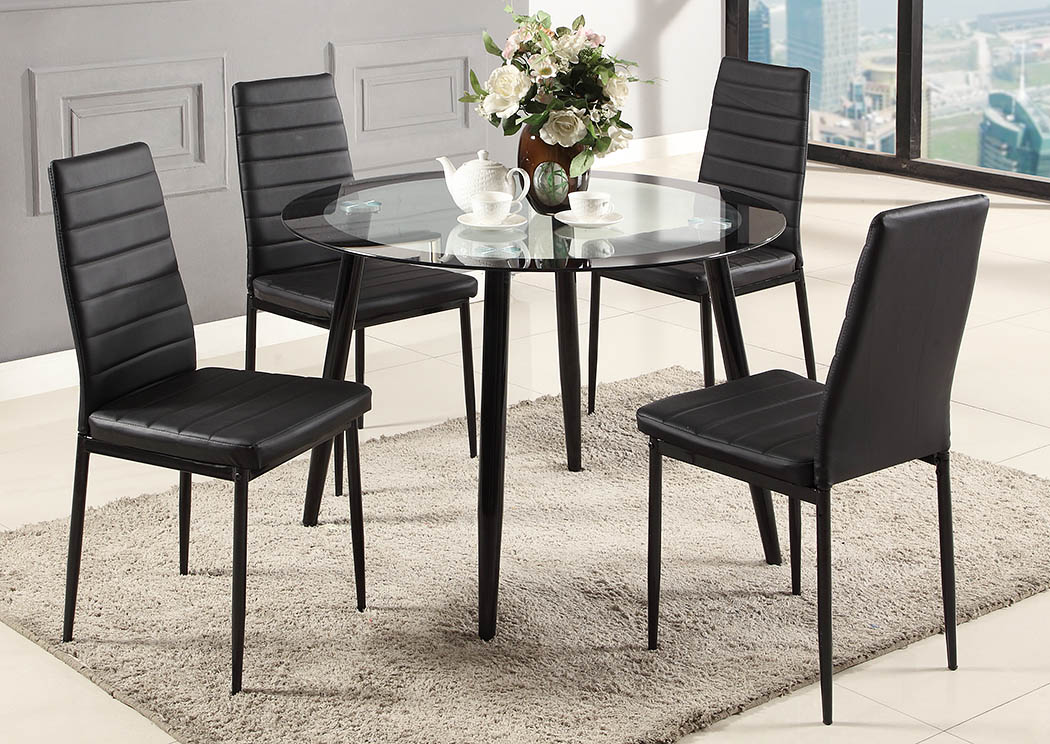 Black Glass Top Dinette (Set of 5),Global Trading