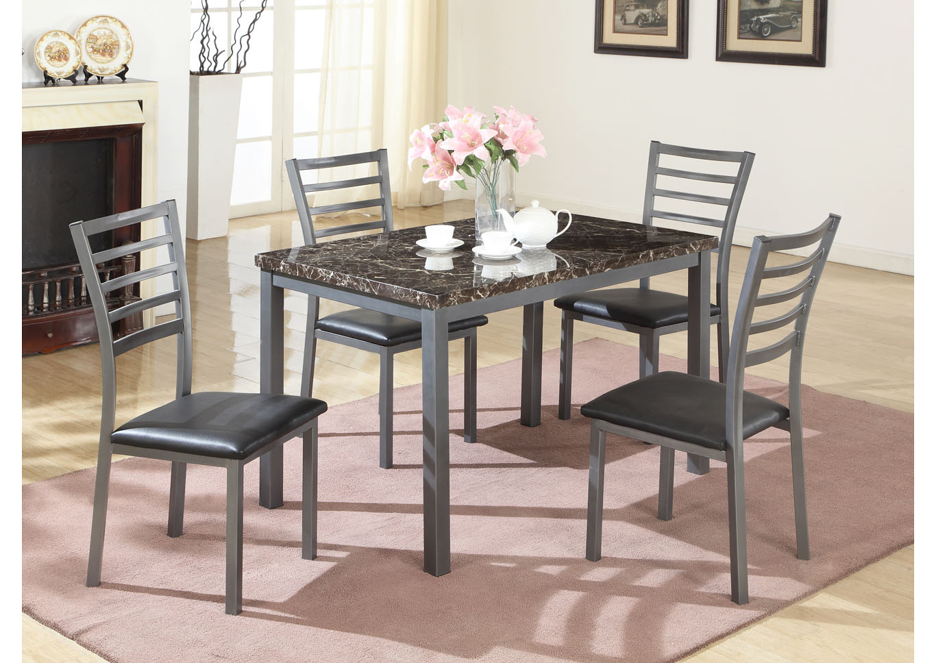 Faux Mable Top Dinette (Set of 5),Global Trading