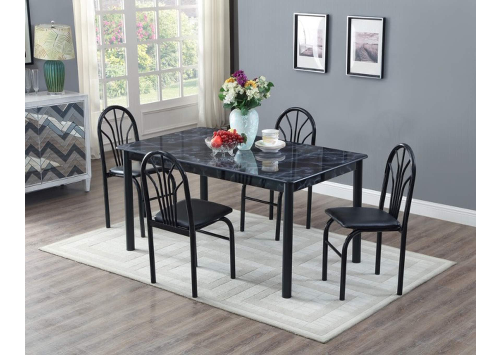 Black Marble Top Dinette W/ 4 Chairs,Global Trading