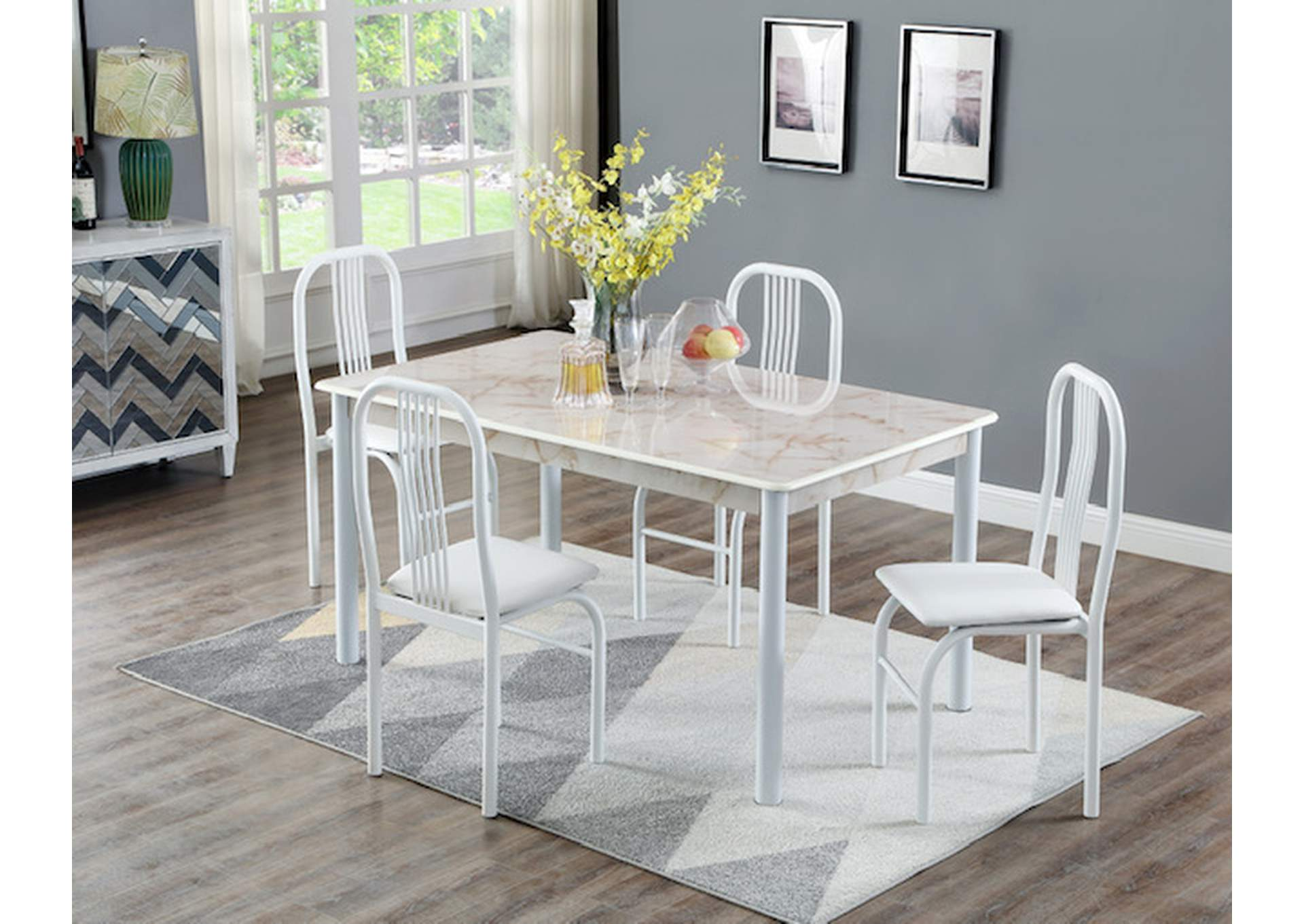 White Marble Top Welded Dinette W/ 4 chairs,Global Trading