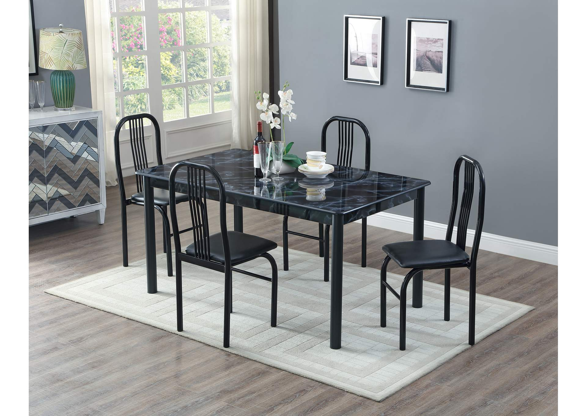 Black Marble Top Welded Dinette W/ 4 chairs,Global Trading