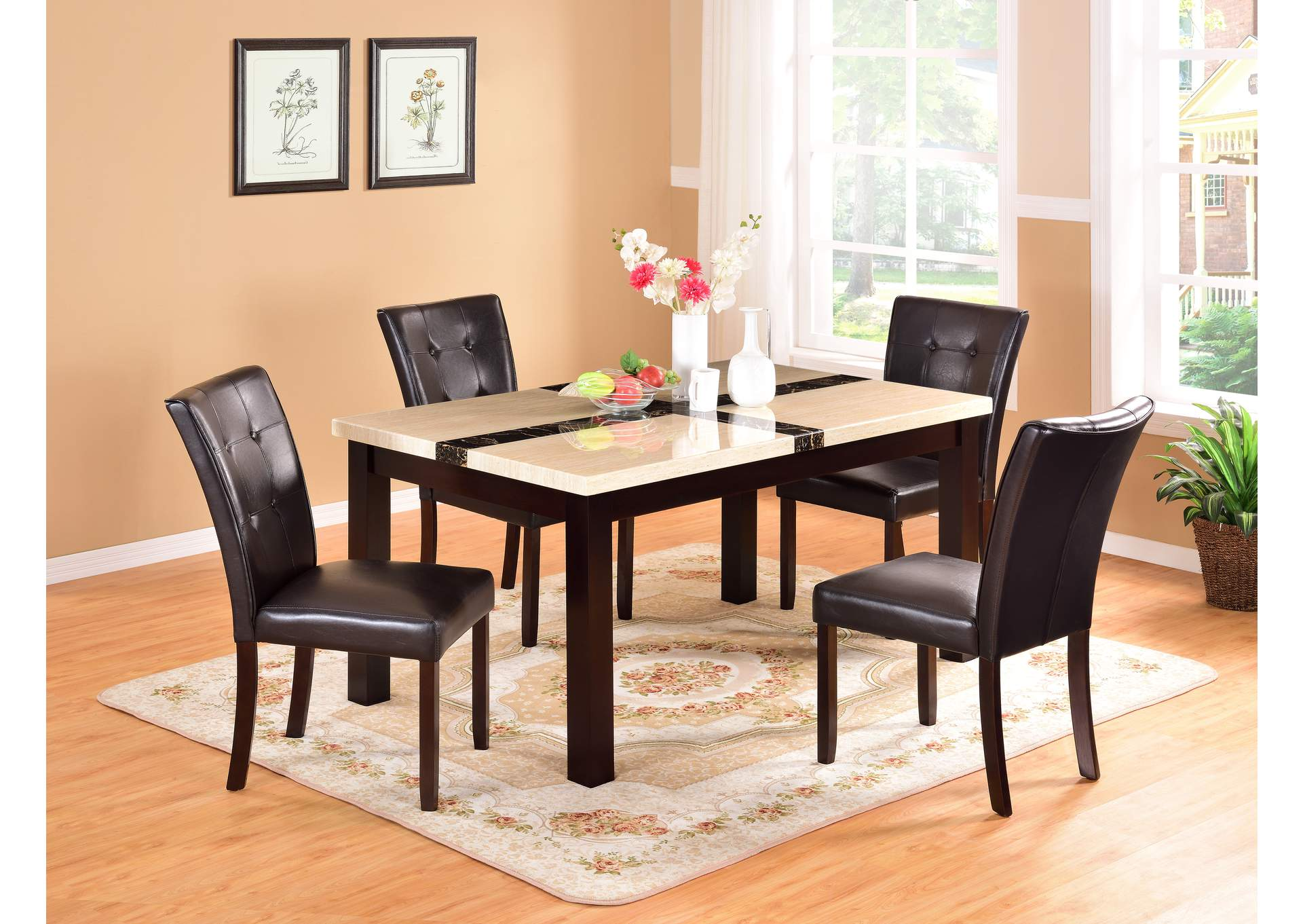 Faux Mable Dinette (Set of 5),Global Trading