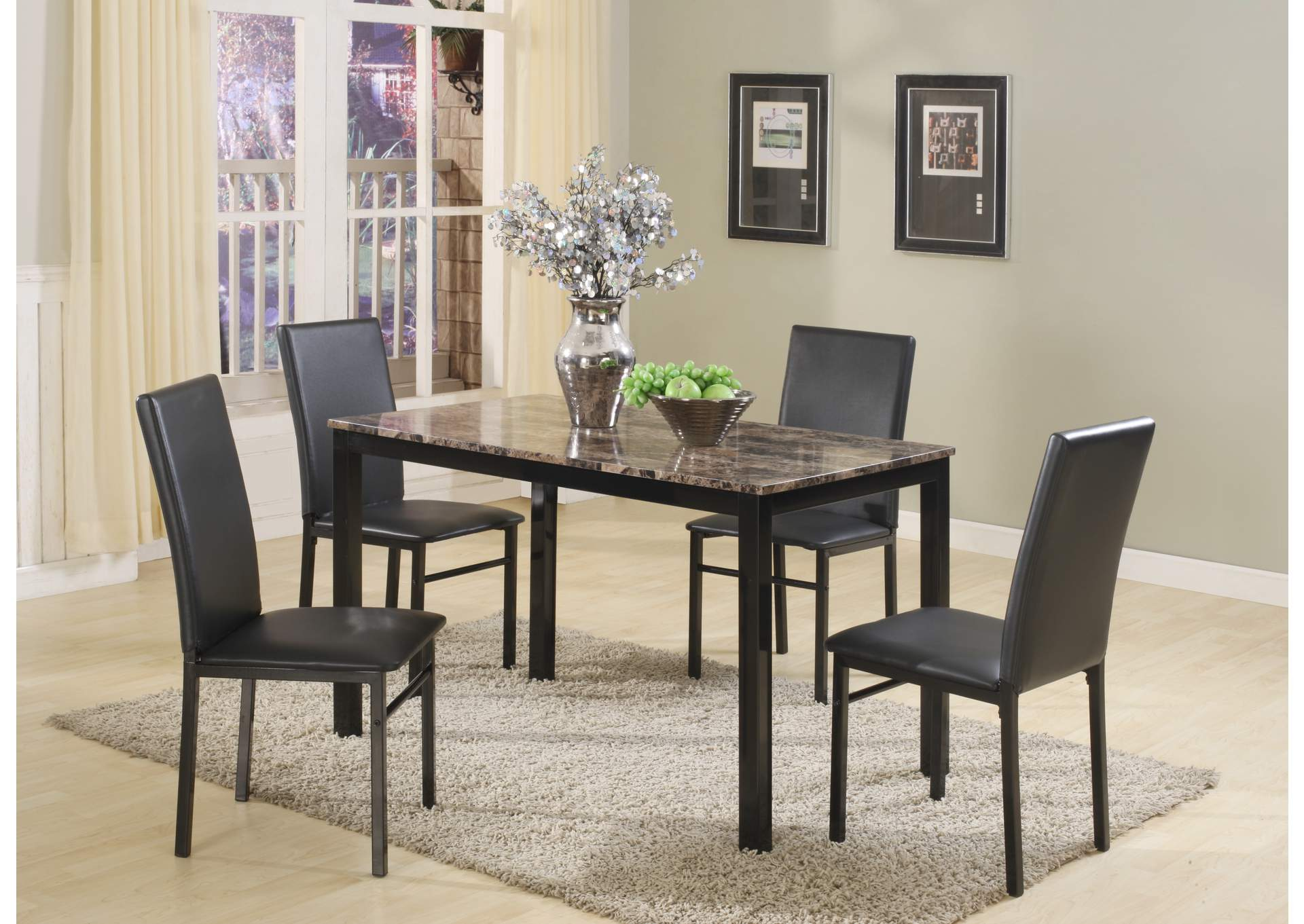 Black Marble Dinette W/ 4 Chairs,Global Trading