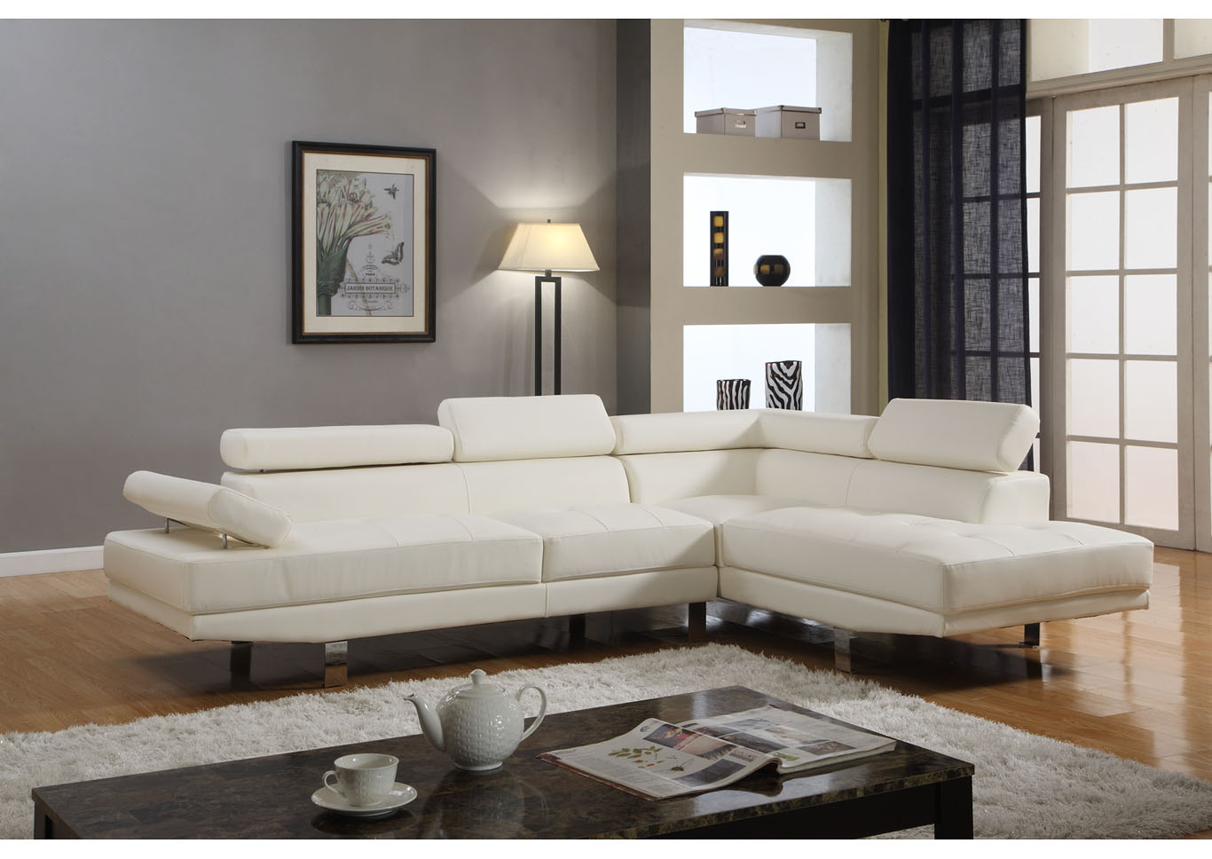 White Sectional Sofa Set,Global Trading