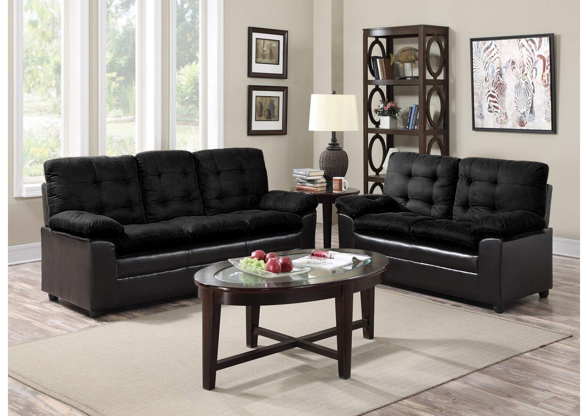 Black Microfiber Sofa & Loveseat,Global Trading