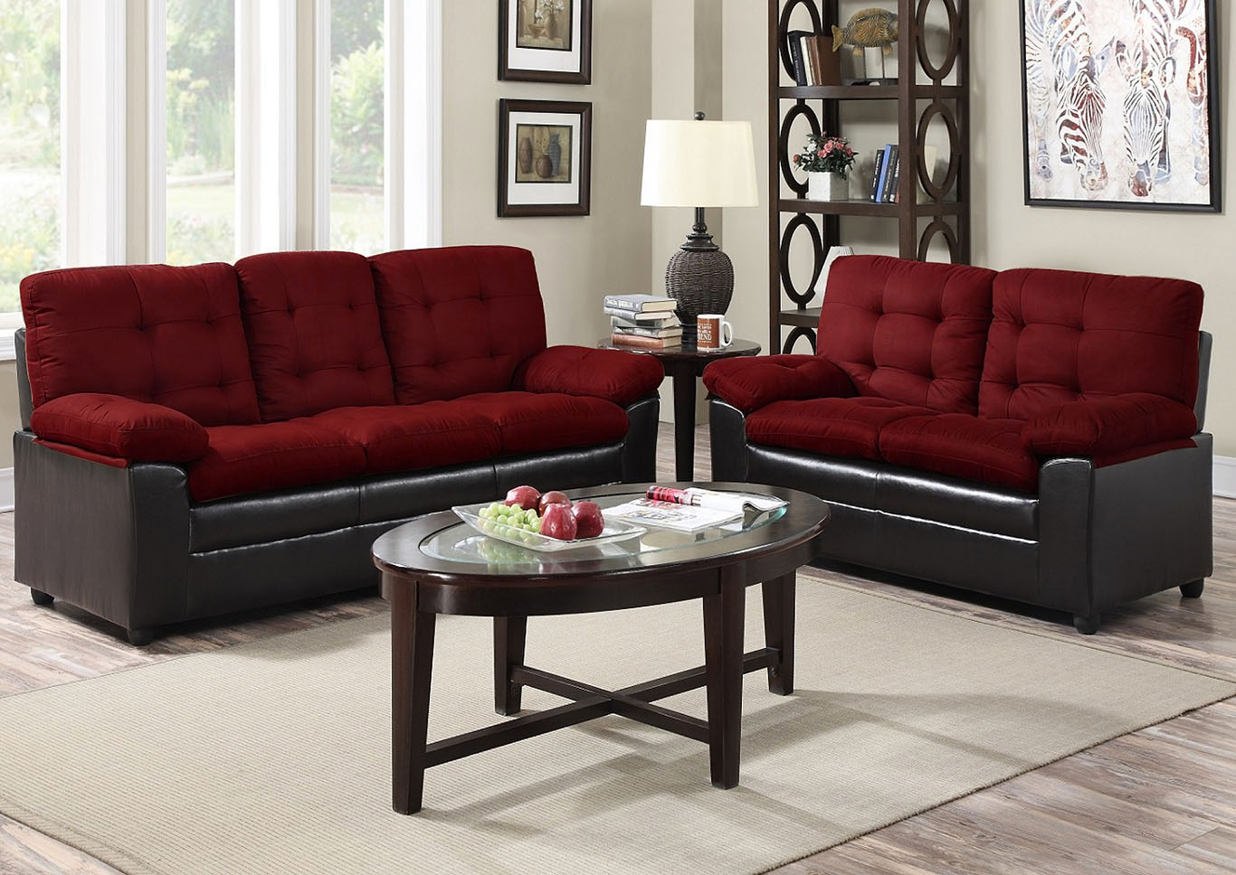 Burgundy Microfiber Sofa,Global Trading