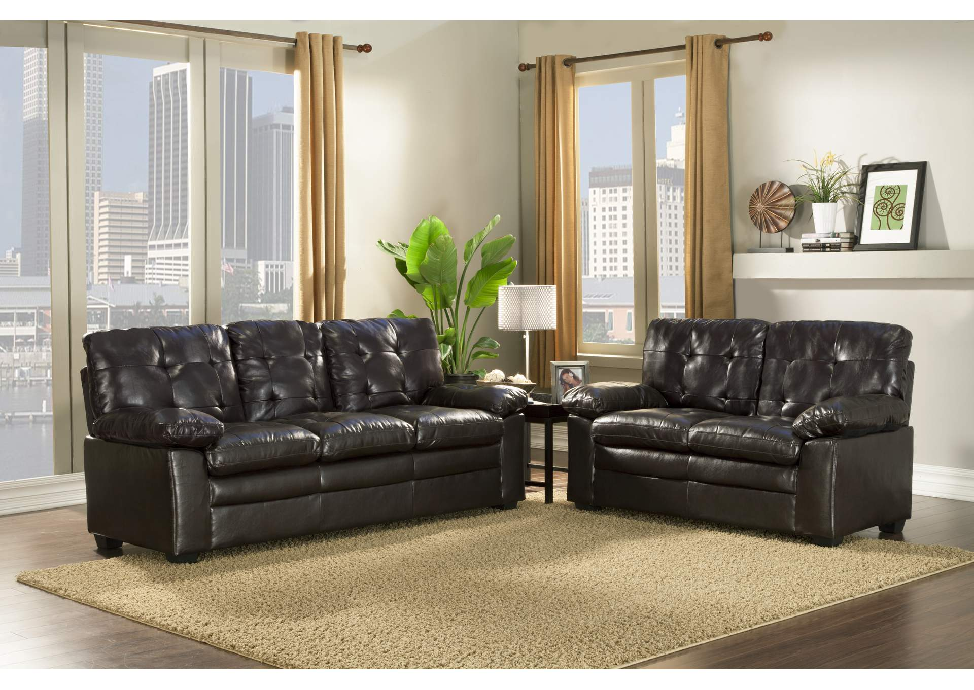 Black Pu Leather Sofa & Loveseat,Global Trading