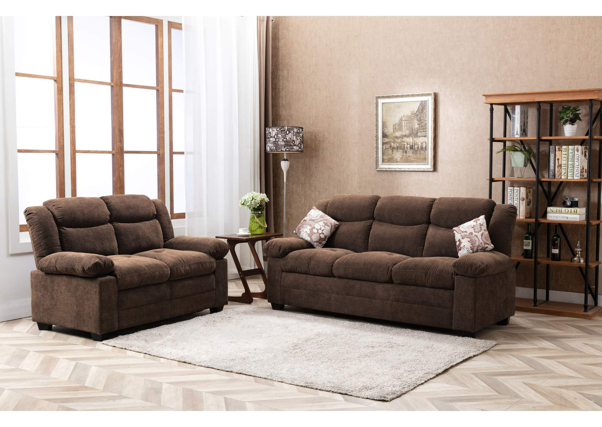 Brown Sofa & Loveseat,Global Trading