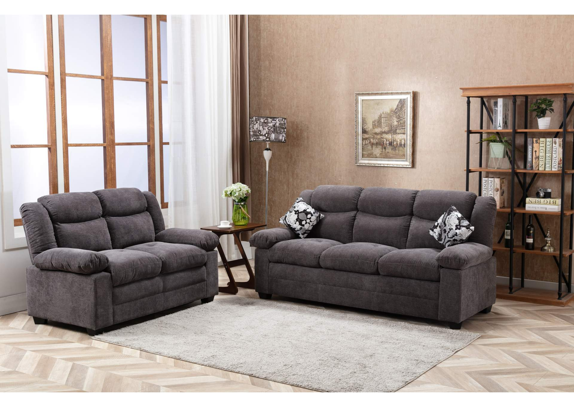 Silver Grey Reclining Sofa,Global Trading