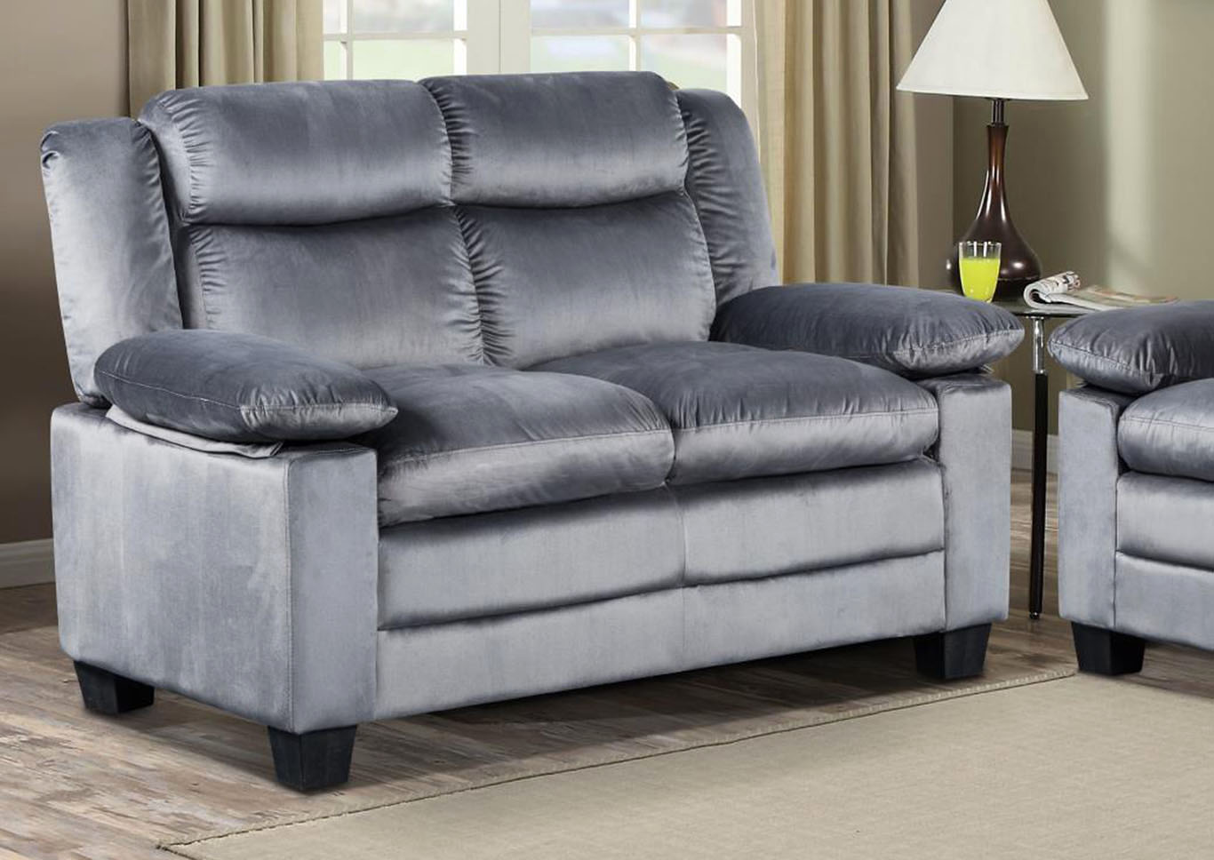 Silver Grey Reclining Loveseat,Global Trading