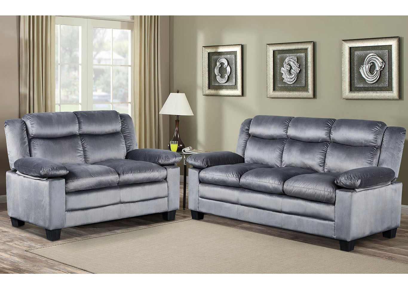 Silver Grey Sofa & Loveseat,Global Trading